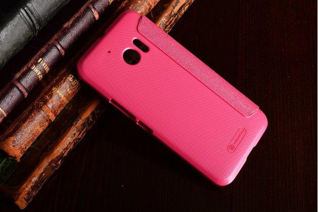 Фирменный чехол-книжка для HTC 10 / HTC One M10 / Lifestyle 10 5.2 розовый с окошком для входящих вызовов водоотталкивающий