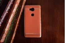 Фирменная премиальная элитная крышка-накладка на Huawei Honor 5X 5.5 (KIW-L21) коричневая из качественного силикона с дизайном под кожу