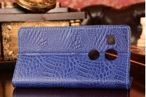 """Фирменный чехол-книжка с подставкой для  Huawei Honor 5X / 5X Play / KIW-AL10 / Mate 7 Mini /GR5 5.5"""" лаковая кожа крокодила синий"""
