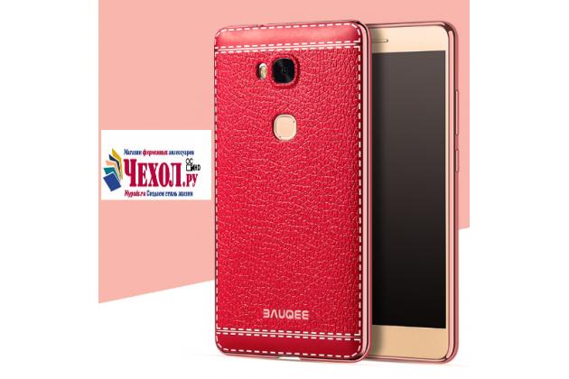 Фирменная премиальная элитная крышка-накладка на for Huawei Honor 5X 5.5 (KIW-L21) красная из качественного силикона с дизайном под кожу
