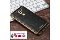Фирменная премиальная элитная крышка-накладка на Huawei Honor 5X 5.5 (KIW-L21) черная из качественного силикона с дизайном под кожу