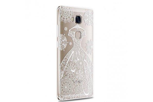 """Фирменная задняя панель-чехол-накладка из прозрачного 3D  силикона с объёмным рисунком для Huawei Honor 5X 5.5"""" (KIW-L21)"""" """"тематика Платье"""" которая огибает логотип чтобы была видна марка телефона"""