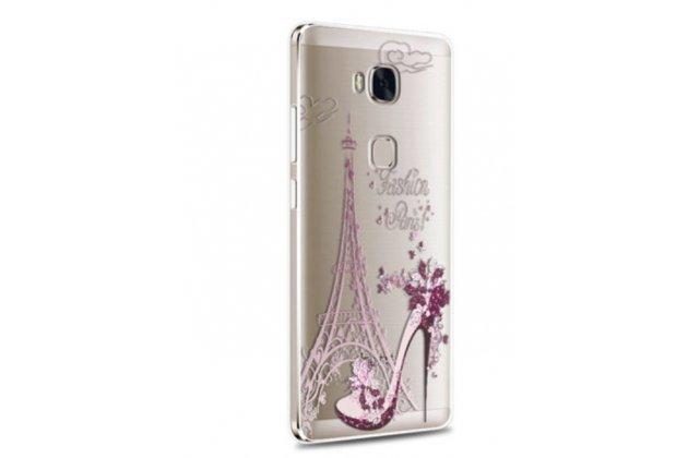 """Фирменная задняя панель-чехол-накладка из прозрачного 3D силикона с объёмным рисунком для Huawei Honor 5X 5.5"""" (KIW-L21)"""" """"тематика туфелька"""" которая огибает логотип чтобы была видна марка телефона"""
