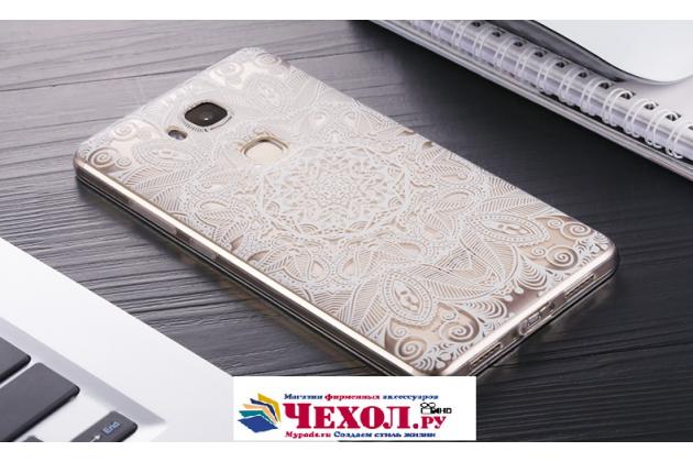"""Фирменная задняя панель-чехол-накладка из прозрачного 3D силикона с объёмным рисунком для Huawei Honor 5X 5.5"""" (KIW-L21)"""" тематика """"тематика Эклектические Узоры"""" которая огибает логотип чтобы была видна марка телефона"""