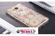 """Фирменная задняя панель-чехол-накладка из прозрачного 3D силикона с объёмным рисунком для Huawei Honor 5X 5.5"""" (KIW-L21)"""" тематика """"оленя в цветах"""" которая огибает логотип чтобы была видна марка телефона"""