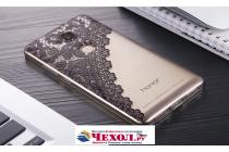 """Фирменная задняя панель-чехол-накладка из прозрачного 3D  силикона с объёмным рисунком для Huawei Honor 5X 5.5"""" (KIW-L21)"""" """"тематика Черное кружево"""" которая огибает логотип чтобы была видна марка телефона"""