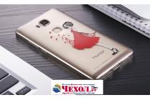 """Фирменная задняя панель-чехол-накладка из прозрачного 3D силикона с объёмным рисунком для Huawei Honor 5X 5.5"""" (KIW-L21)"""" """"тематика Красное платье"""" которая огибает логотип чтобы была видна марка телефона"""