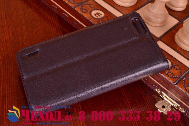 Фирменный чехол-книжка из качественной импортной кожи с мульти-подставкой застёжкой и визитницей для Хуавей Хонор 6 Шесть Плюс + черный