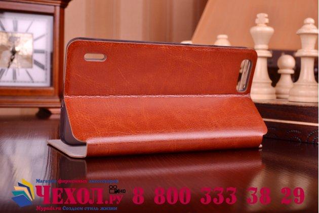 Фирменный чехол-книжка из качественной водоотталкивающей импортной кожи на жёсткой металлической основе для Huawei Honor 6 Plus коричневый