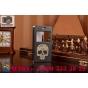 Фирменный чехол-книжка с безумно красивым расписным рисунком черепа на Huawei Honor 6 Plus с окошком для звонк..