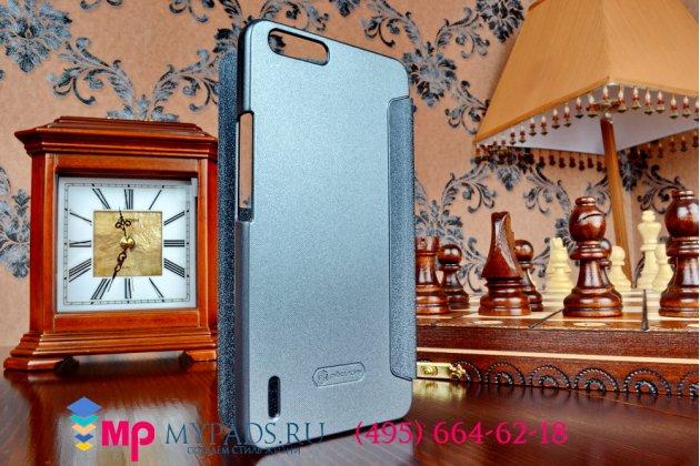 Фирменный оригинальный чехол-книжка для Huawei Honor 6 Plus черный кожаный с окошком для входящих вызовов