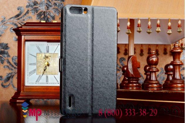 Фирменный оригинальный чехол-книжка для Huawei Honor 6 Plus черный кожаный с окошком для входящих вызовов и свайпом