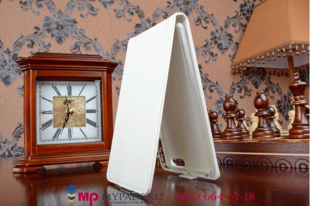 """Фирменный оригинальный вертикальный откидной чехол-флип для Huawei Honor 6 Plus белый из качественной импортной кожи """"Prestige"""" Италия"""