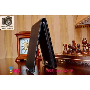 Фирменный оригинальный вертикальный откидной чехол-флип для Huawei Honor 6 Plus черный кожаный