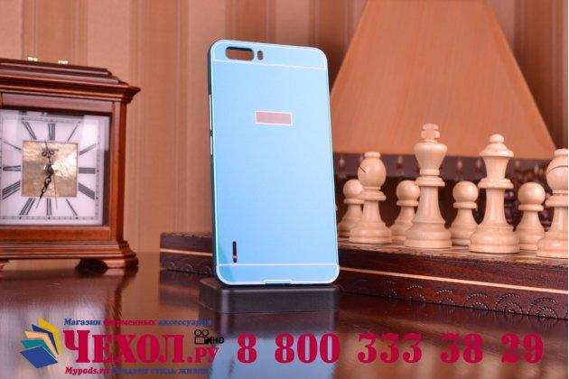 Фирменная металлическая задняя панель-крышка-накладка из тончайшего облегченного авиационного алюминия для Huawei Honor 6 Plus синяя