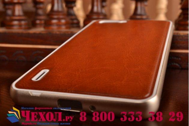 Фирменная роскошная элитная премиальная задняя панель-крышка на металлической основе обтянутая импортной кожей для Huawei Honor 6 Plus королевский коричневый