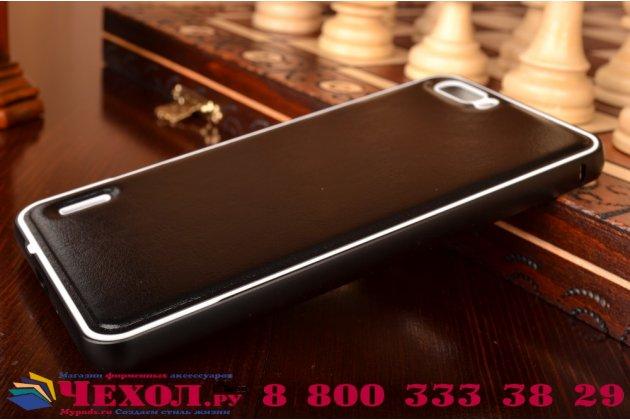 Фирменная роскошная элитная премиальная задняя панель-крышка на металлической основе обтянутая импортной кожей для Huawei Honor 6 Plus королевский черный