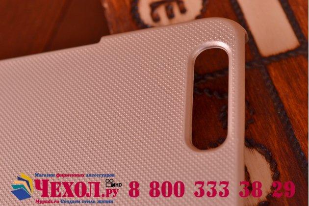 Фирменная задняя панель-крышка-накладка из тончайшего и прочного пластика для Huawei Honor 6 Plus золотая