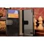 Фирменный чехол-книжка из качественной импортной кожи с застёжкой и мультиподставкой для Huawei Ascend P6 черн..