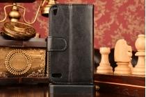 Фирменный чехол-книжка из качественной импортной кожи с застёжкой и мультиподставкой для Huawei Ascend P6 черный