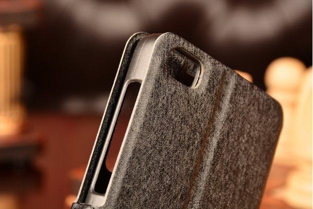 Фирменный оригинальный чехол-книжка для Huawei Honor 6/Honor 6 Dual (H60-L04) черный с окошком для входящих вызовов c свайпом