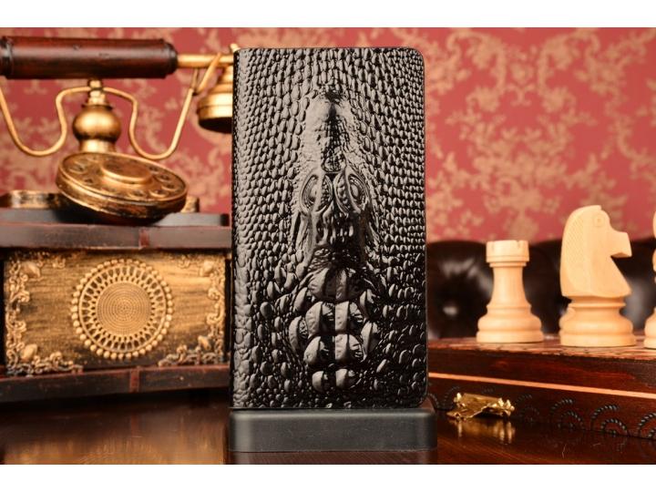 Фирменный роскошный эксклюзивный чехол с объёмным 3D изображением кожи крокодила черный для Huawei Honor 6. То..