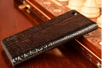Фирменный роскошный эксклюзивный чехол с объёмным 3D изображением кожи крокодила черный для Huawei Honor 6. Только в нашем магазине. Количество ограничено