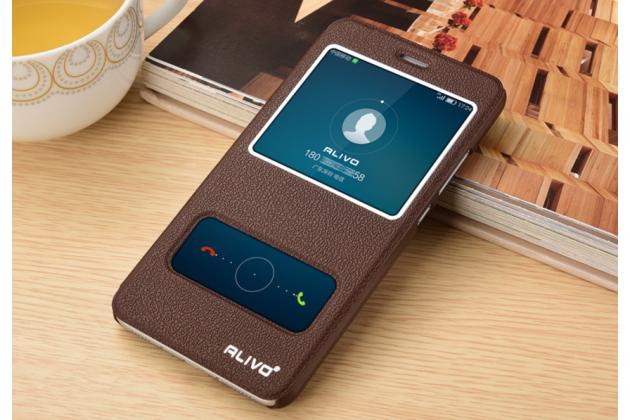 Фирменный чехол-книжка для Huawei Enjoy 6S / Nova Smart 5.0/Honor 6C коричневый с окошком для входящих вызовов и свайпом водоотталкивающий