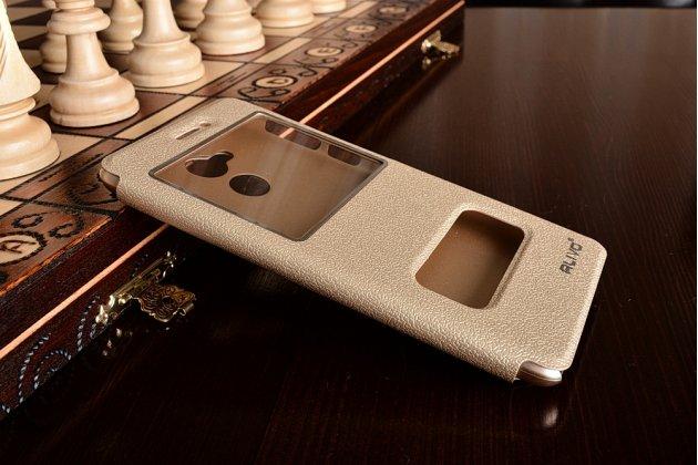Фирменный чехол-книжка для Huawei Enjoy 6S / Nova Smart 5.0/Honor 6C золотой с окошком для входящих вызовов и свайпом водоотталкивающий