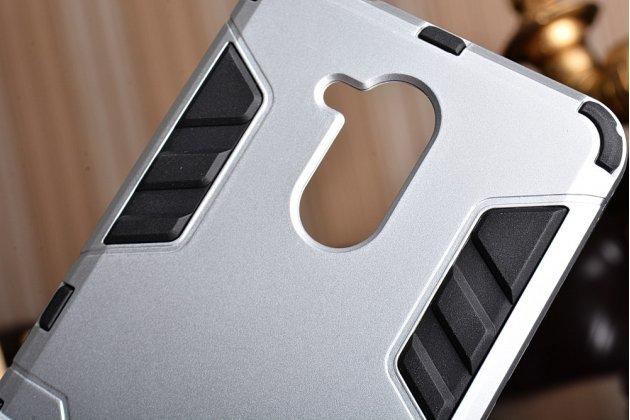Противоударный усиленный ударопрочный фирменный чехол-бампер-пенал для Huawei Enjoy 6S / Nova Smart 5.0/Honor 6C серебристый