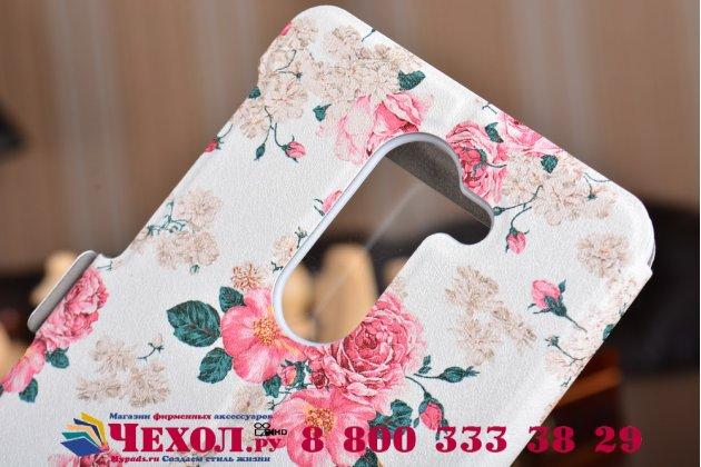 """Фирменный чехол-книжка с безумно красивым расписным рисунком """"тематика Розы на белом фоне"""" на Huawei Honor 6X (BLN-AL10) 5.5 с окошком для звонков"""