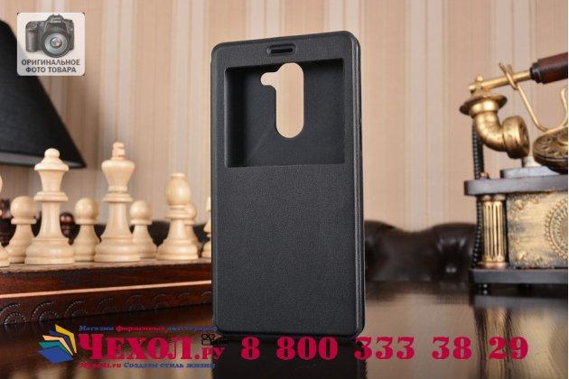 Фирменный оригинальный чехол-книжка из качественной импортной кожи с окном для входящих вызовов  для Huawei Honor 6X (BLN-AL10) 5.5 черный