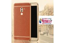 Фирменная роскошная элитная премиальная задняя панель-крышка на силиконовой основе обтянутая импортной кожей для Huawei Honor 6X (BLN-AL10) 5.5 королевский коричневый