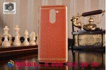 Фирменная премиальная элитная крышка-накладка на for Huawei Honor 6X (BLN-AL10) 5.5 коричневая из качественного силикона с дизайном под кожу