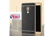 Фирменная роскошная элитная премиальная задняя панель-крышка на силиконовой основе обтянутая импортной кожей для Huawei Honor 6X (BLN-AL10) 5.5 королевский черный