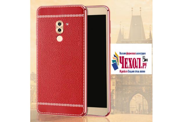 Фирменная премиальная элитная крышка-накладка на Huawei Honor 6X (BLN-AL10) 5.5 красная из качественного силикона с дизайном под кожу