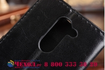 Фирменный чехол-книжка из качественной импортной кожи с подставкой застёжкой и визитницей для Хуавей Хонор 6Х Икс (БЛН-АЛ10) 5.5 черный