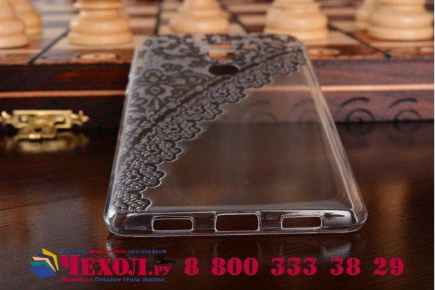 Фирменная задняя панель-чехол-накладка из прозрачного 3D  силикона с объёмным рисунком для Хуавей Хонор 6Х тематика Черное кружево которая огибает логотип чтобы была видна марка телефона