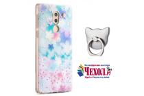Фирменная задняя панель-чехол-накладка из прозрачного 3D  силикона с объёмным рисунком для Huawei Honor 6X (BLN-AL10) 5.5 тематика Лепестки которая огибает логотип чтобы была видна марка телефона