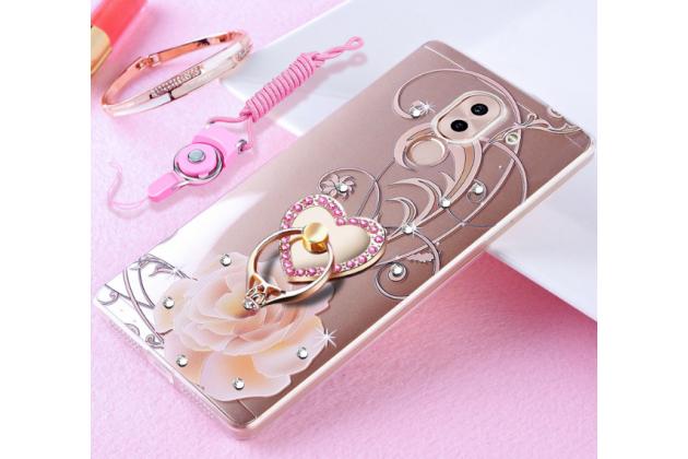 Фирменная ультра-тонкая полимерная из мягкого качественного силикона задняя панель-чехол-накладка украшенная стразами и кристаликами с рисунком розы для Huawei Honor 6X (BLN-AL10) 5.5