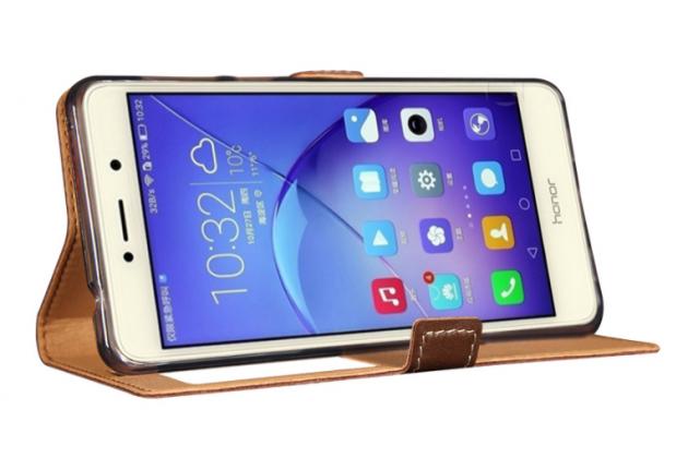 Фирменный оригинальный чехол-книжка для Huawei Honor 6X (BLN-AL10) 5.5/ Honor 6X Premium розовое золото с окошком для входящих вызовов водоотталкивающий