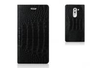 Фирменный роскошный эксклюзивный чехол с фактурной прошивкой рельефа кожи крокодила и визитницей черный для Huawei Honor 6X (BLN-AL10) 5.5/ Honor 6X Premium. Только в нашем магазине. Количество ограничено