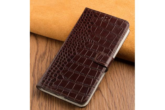 Фирменный роскошный эксклюзивный чехол-книжка с объёмным  рельефом кожи крокодила коричневый для Huawei Honor 6X (BLN-AL10) 5.5/ Honor 6X Premium . Только в нашем магазине. Количество ограничено