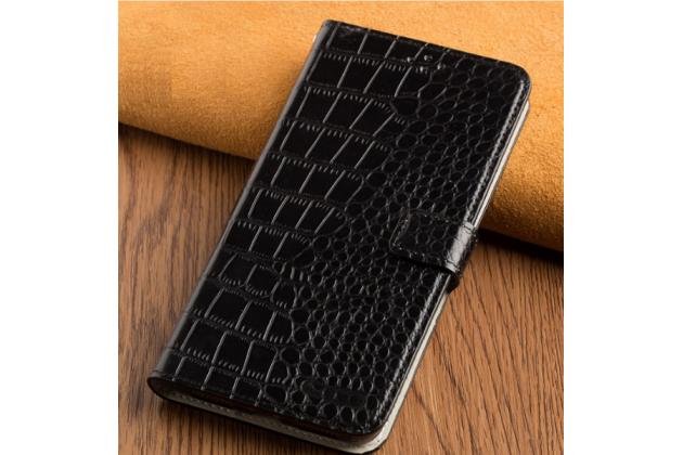 Фирменный роскошный эксклюзивный чехол с объёмным  рельефом кожи крокодила черный для Huawei Honor 6X (BLN-AL10) 5.5/ Honor 6X Premium . Только в нашем магазине. Количество ограничено