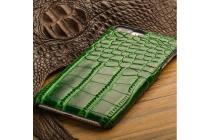 Фирменная элегантная экзотическая задняя панель-крышка с фактурной отделкой натуральной кожи крокодила зеленого цвета для Huawei Honor 6X . Только в нашем магазине. Количество ограничено.
