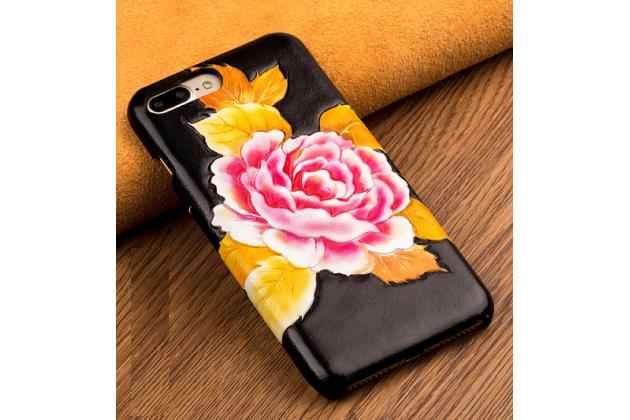 Фирменная роскошная задняя панель-крышка обтянутая импортной кожей для Huawei Honor 6X тематика Пион