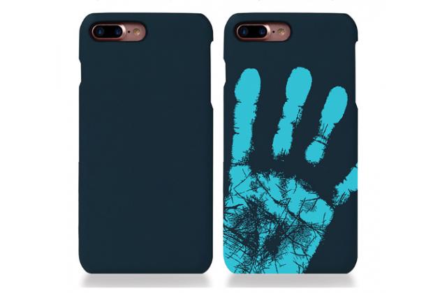 Фирменная эксклюзивная термо-накладка с реагированием на температуру руки синего цвета для Huawei Honor 6X. Только в нашем магазине. Количество ограничено