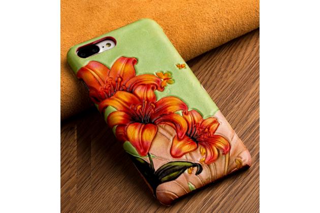 """Фирменная роскошная эксклюзивная накладка с фактурным дизайном из натуральной кожи тематика """"Огненная Лилия"""" для для Huawei Honor 6X. Только в нашем магазине. Количество ограничено"""