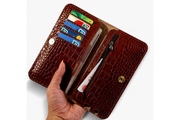 Фирменный чехол-портмоне-клатч-кошелек из качественной импортной кожи для Huawei Honor 6X (BLN-AL10) 5.5/ Honor 6X Premium коричневый