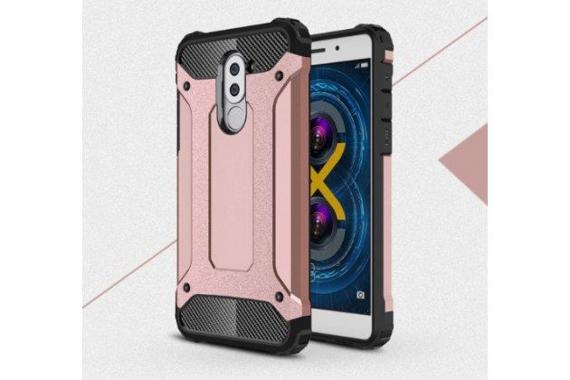 Противоударный усиленный ударопрочный фирменный чехол-бампер-пенал для Huawei Honor 6X (BLN-AL10) 5.5 розовый